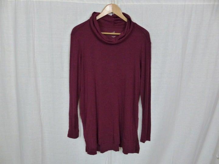 J Jill Women's 100% Pima Cotton Cowl Neck Tunic Long Sleeve Shirt Size Small