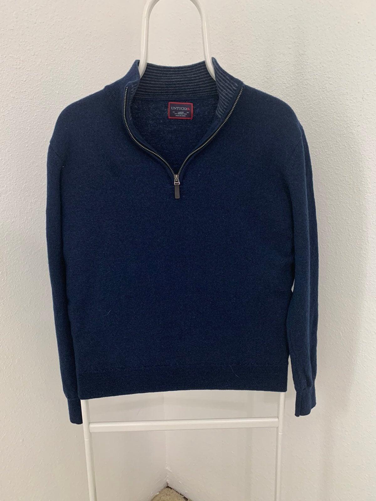Mens Untuckit 1/4 Zip Sweater 100% Wool