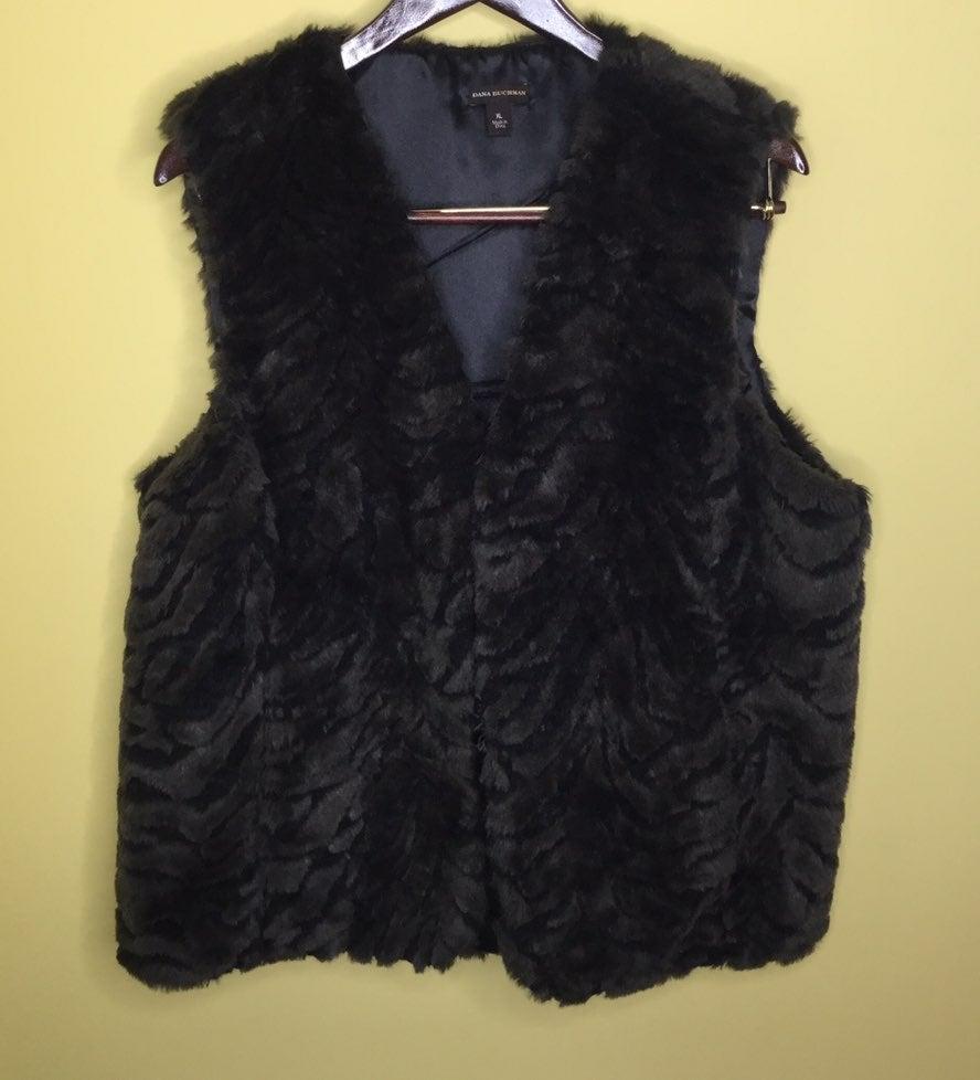 Women Faux Fur Vest XL Black