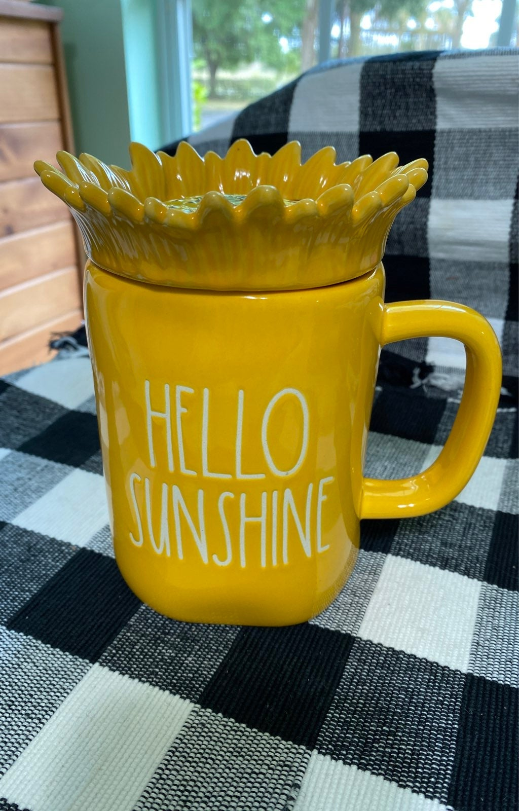 Hello Sunshine mug with topper