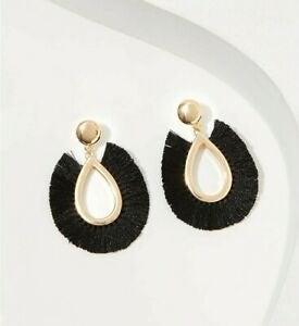 NWT LOFT Black Fringe Drop Earrings