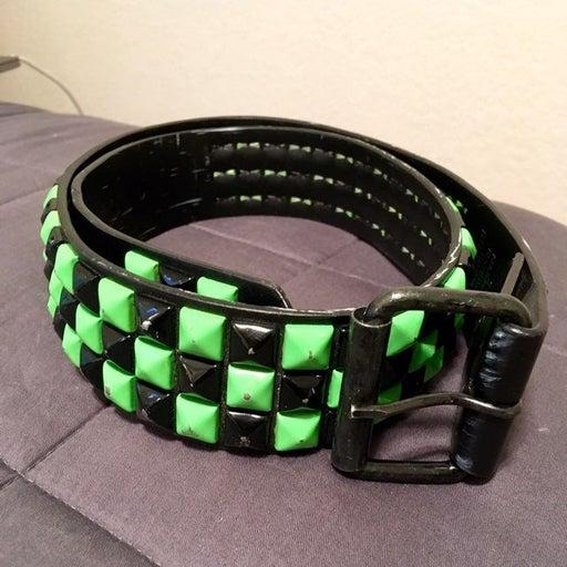 Black and Green Studded Belt