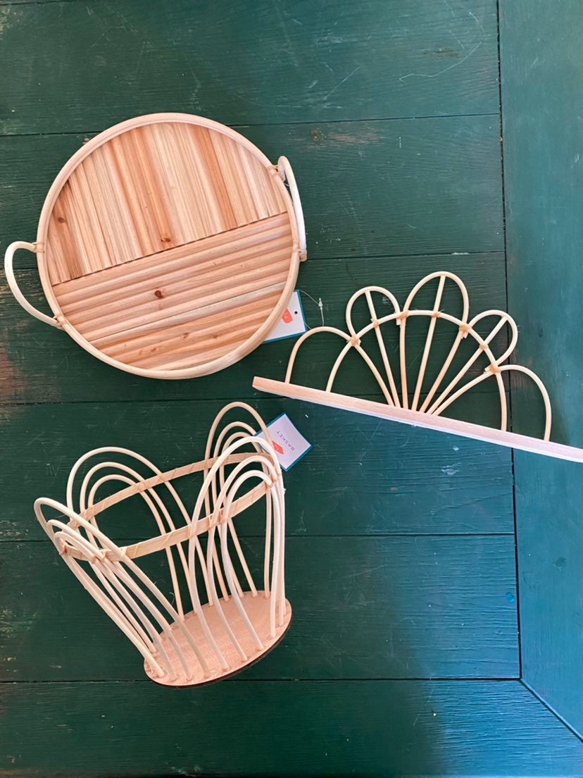 Rattan Bamboo Boho Decor 3 piece set