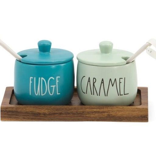 Rae Dunn Fudge and caramel ice cream set