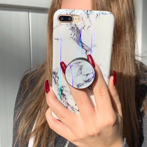 New iPhone XR White Laser Marble Case