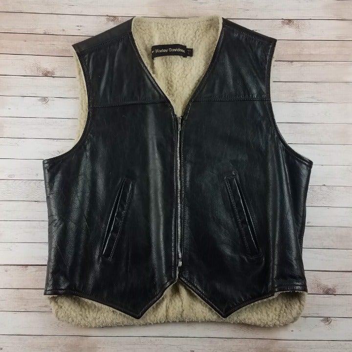VTG 1970s Harley Davidson Leather Vest