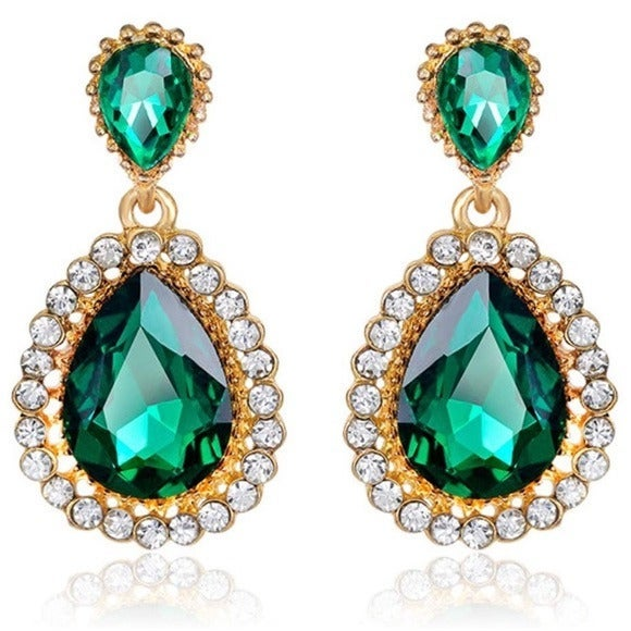 Emerald Green Crystal Drop Earrings