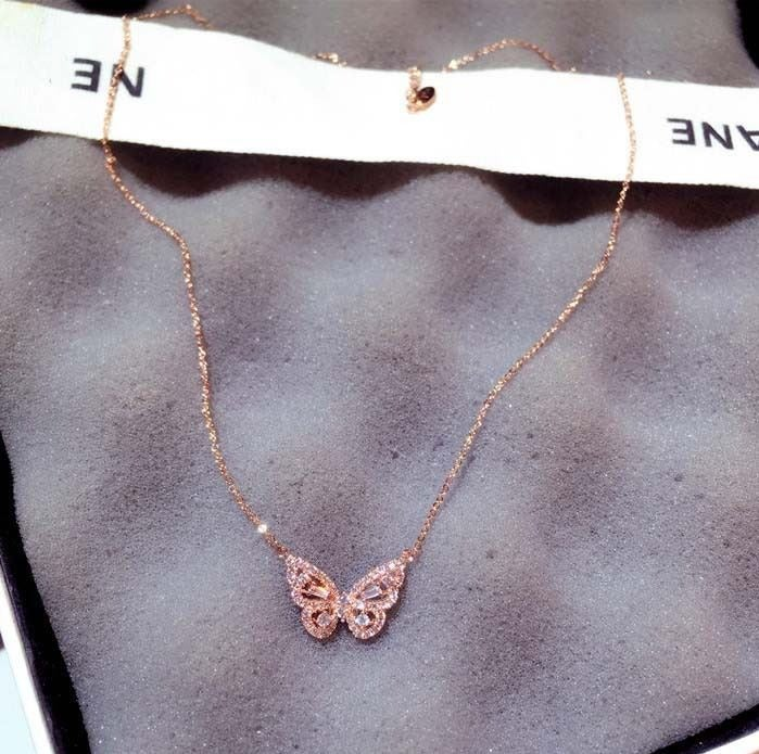 Rose Gold Butterfly Crystal Necklace
