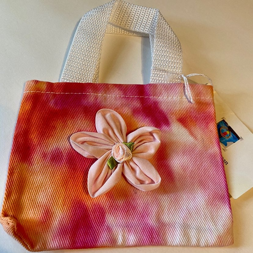 New Tie dyed Small Flower  tote bag