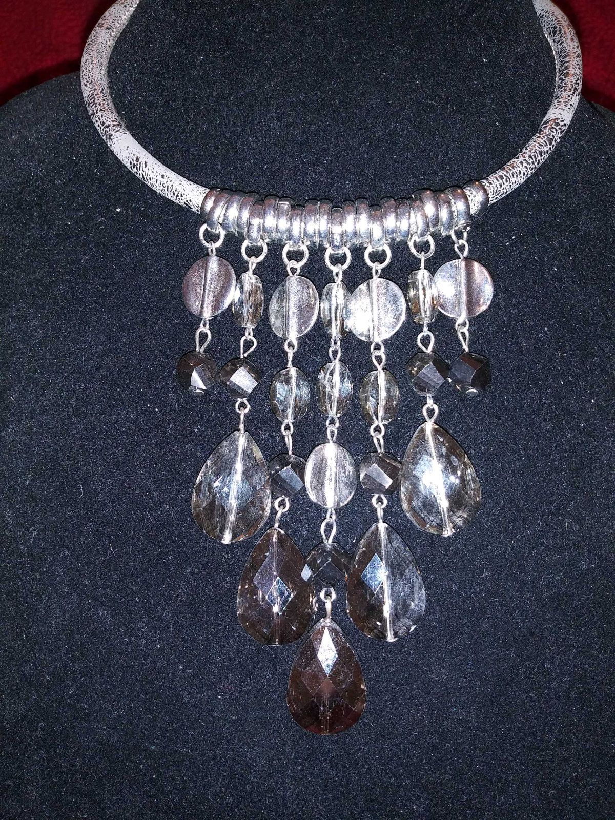 Silver Necklace with Gem Crystals