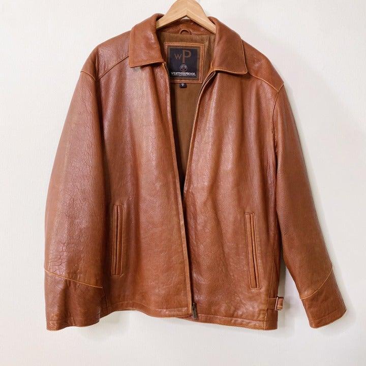 Weatherproof Brown Leather Zip Up Jacket