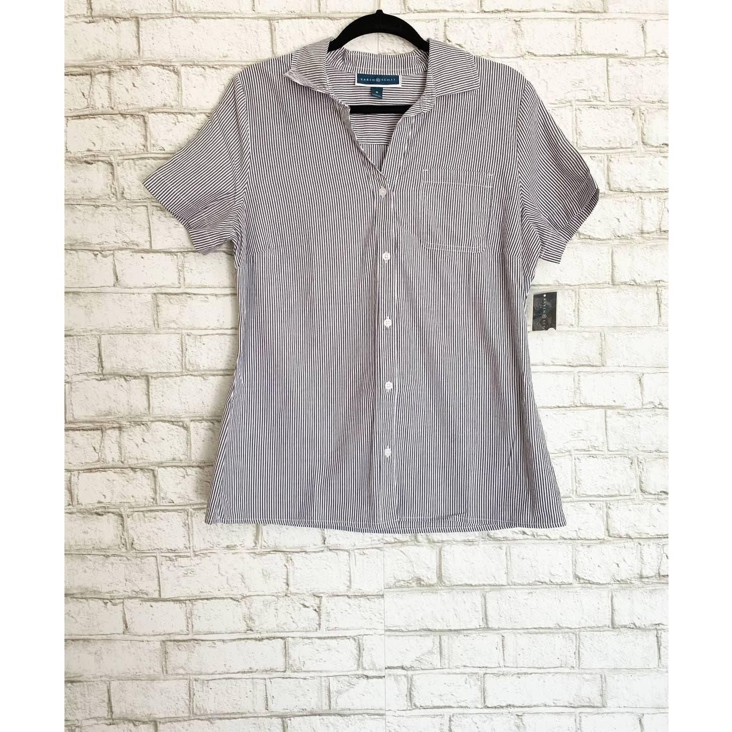 NWT Karen Scott Striped Button Up Shirt