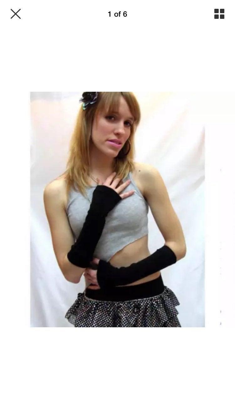 Black Elbow Length Hand Arm Warmers