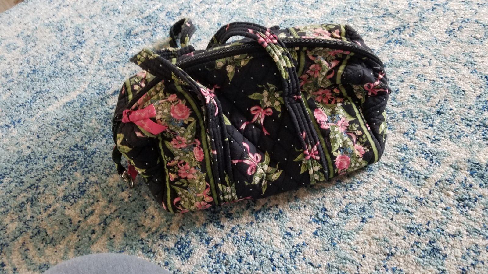 Vera Bradley black floral satchel purse