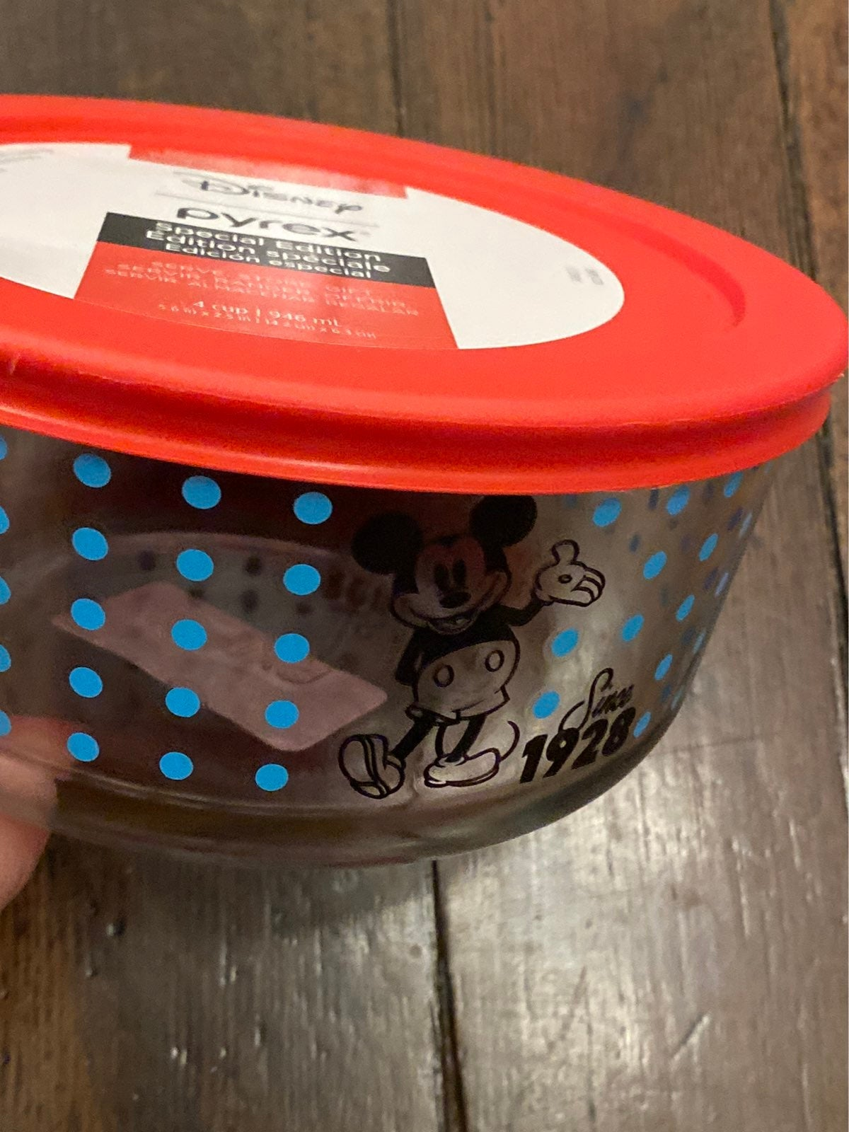 Disney Mickey Mouse red Pyrex