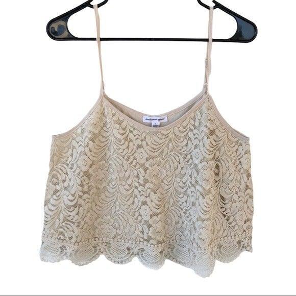 Ambiance Apparel Crochet Crop Top Sz L