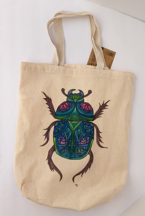 Blue Scarab Beetle Tote Bag Bug Book Bag