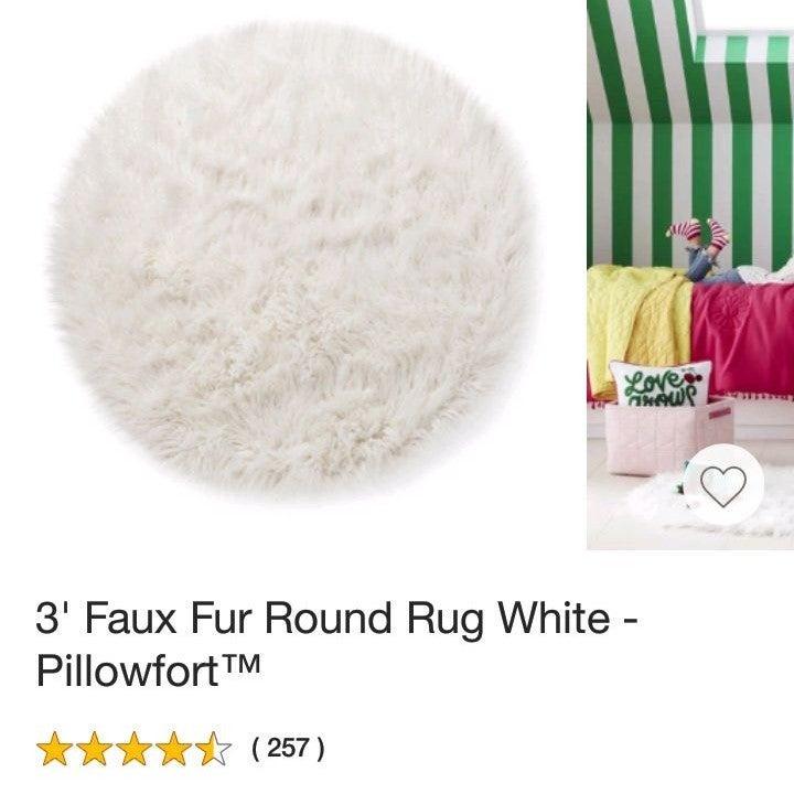 """Pillowfort 36"""" Faux Fur Round Rug"""