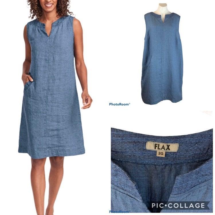 New FLAX Charming Linen Dress 2G 2X Blue