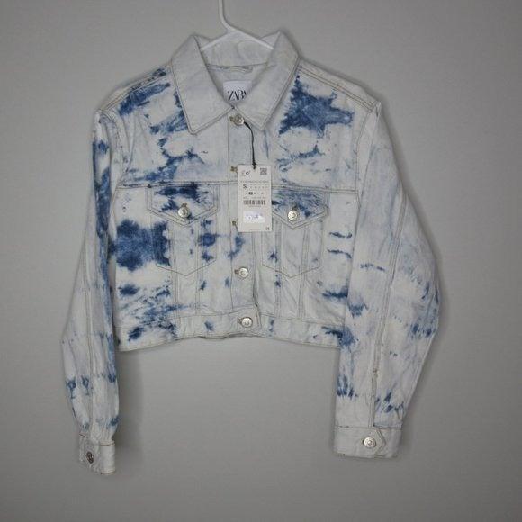 ZARA Tie-Dye Cropped Denim Jacket sz S