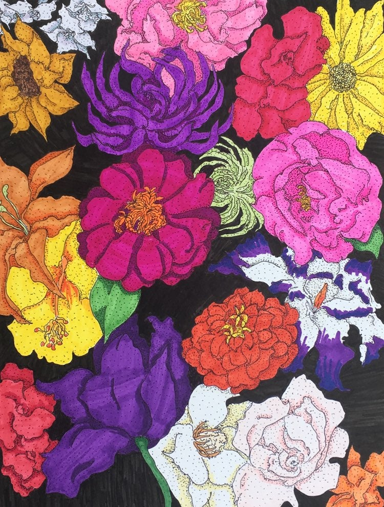 Hand Drawn Floral Collage