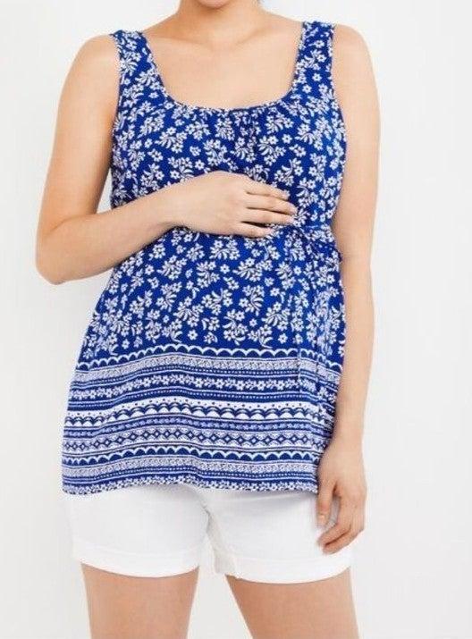 size small, maternity shirt, blue & whit