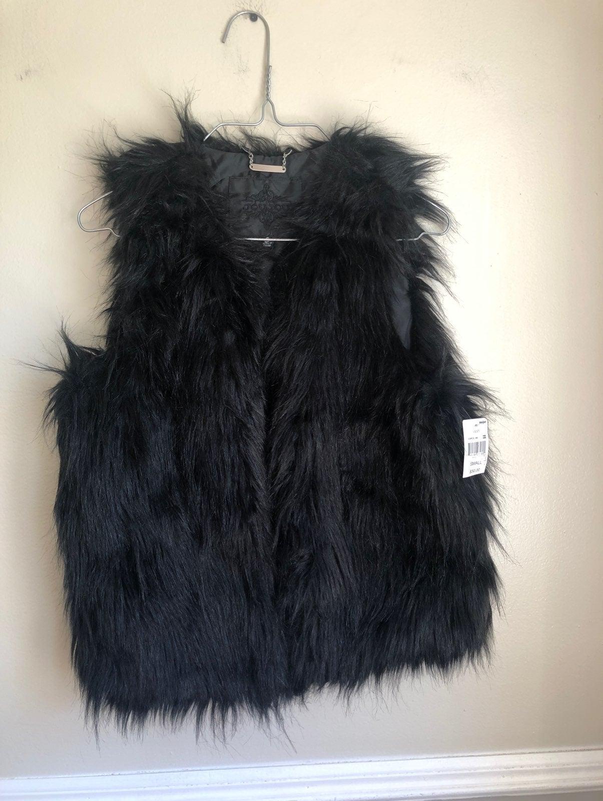 JouJou Black Faux Fur Vest with tags szS