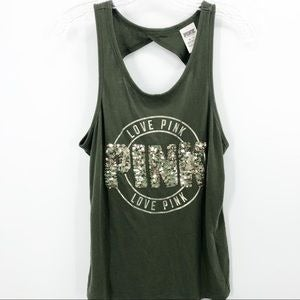VS Pink Sequined Back Cutout Tank Top