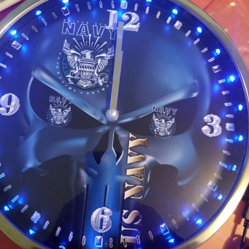 Navy skull head led lights clock 12 inch