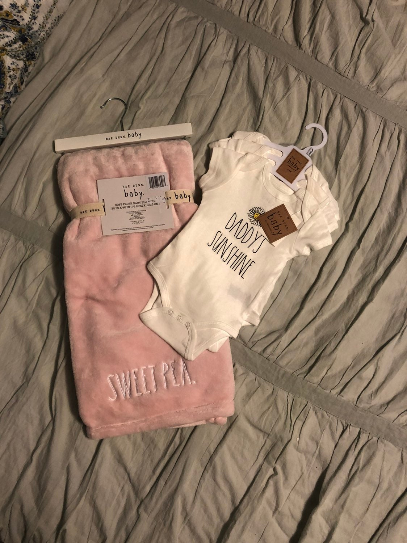 Rae Dunn sweet pea blanket/tee shirts