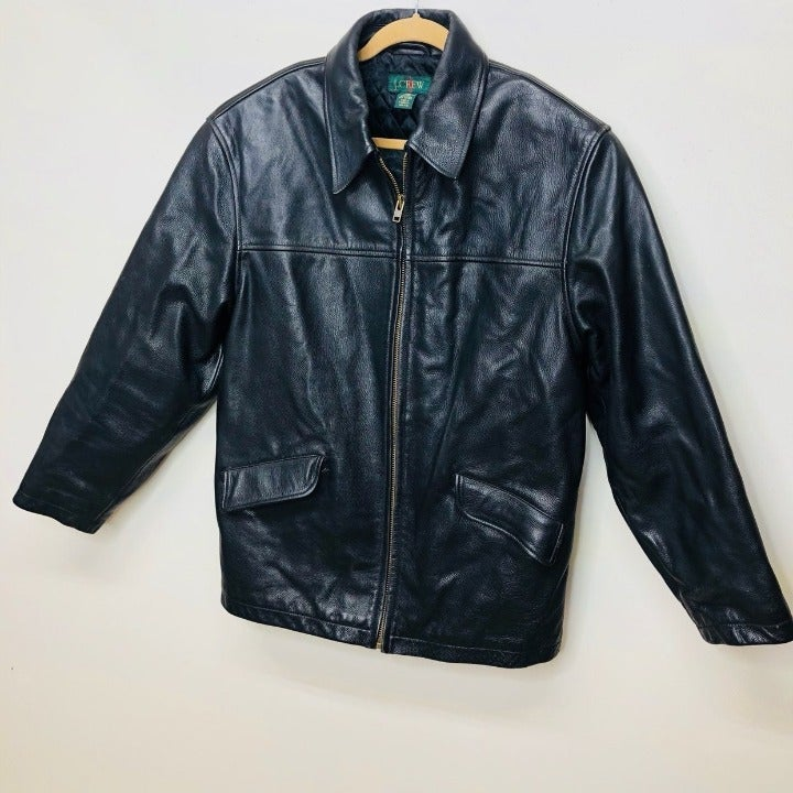 J Crew Heavy Black Leather Jacket M