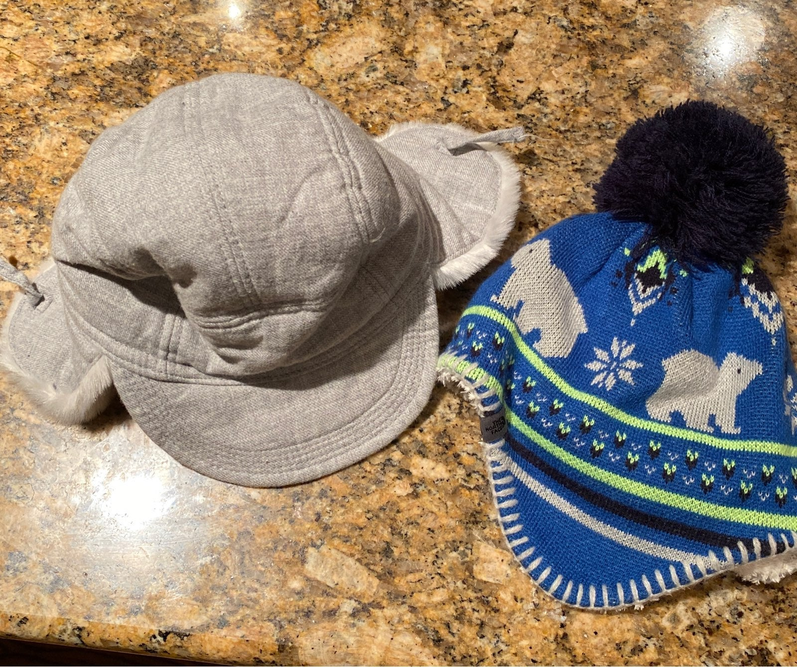 2 baby boy winter hats northface and gap
