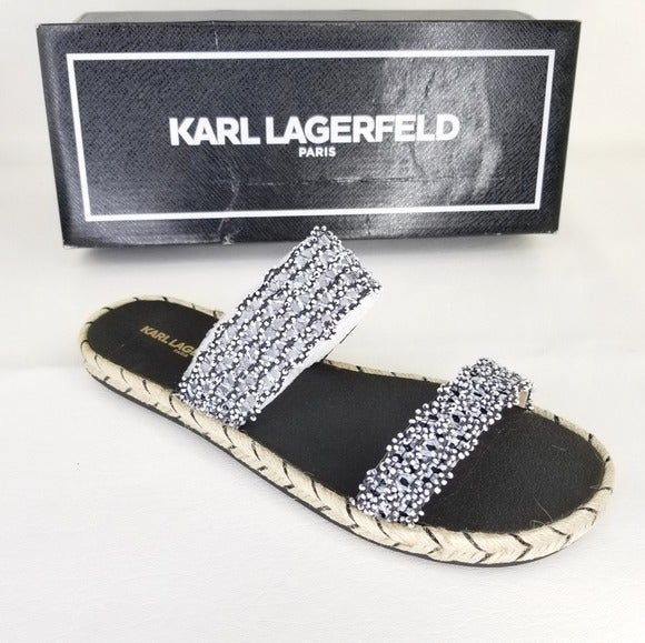 Karl Lagerfeld Beaded Espadrille Sandal