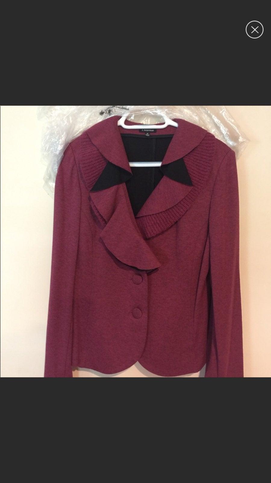 J Peterman Wool Red Cardigan Blazer 10