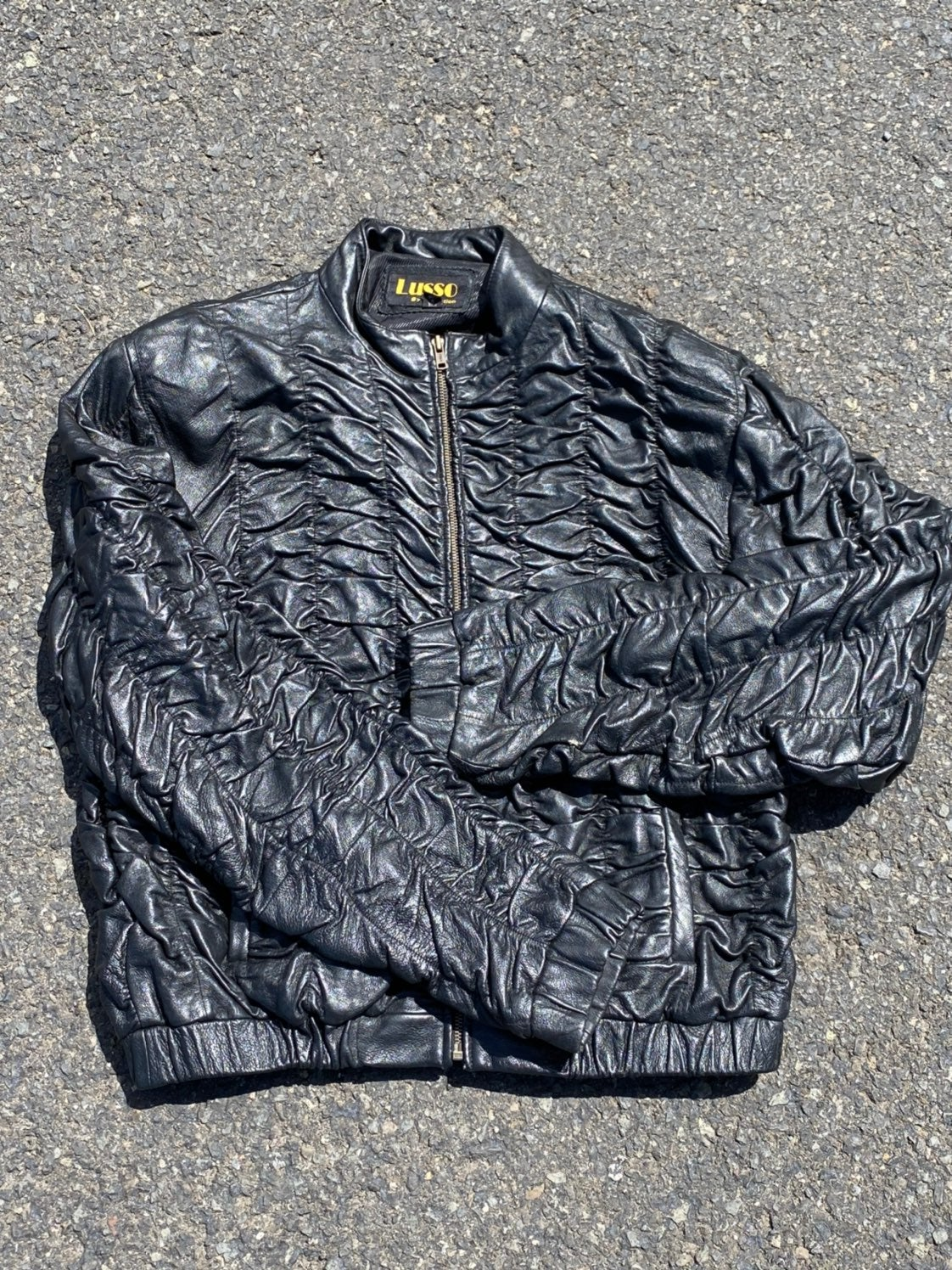 Womens Ribbed Leather Jacket