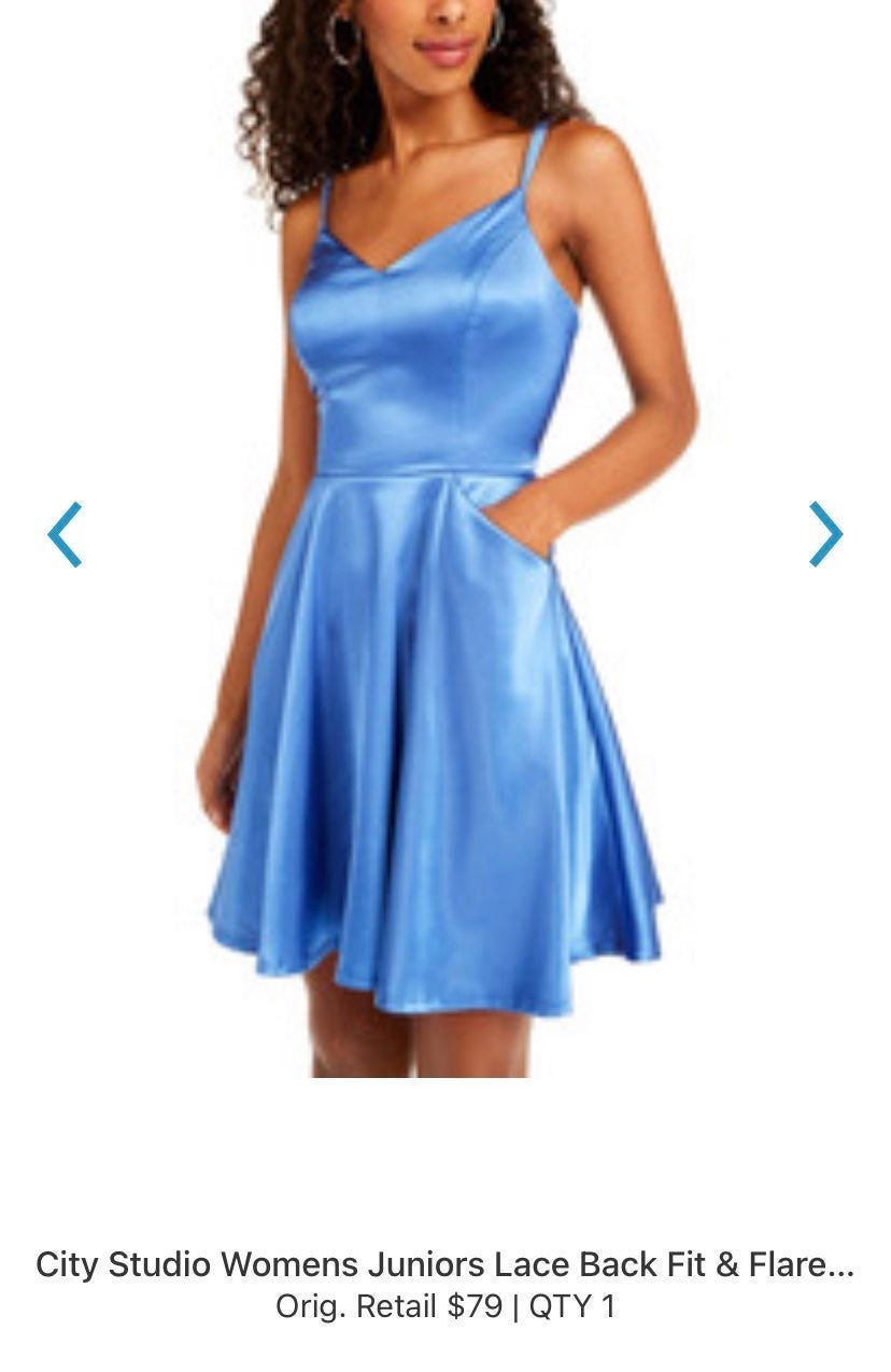 Blue Lace Back Dress