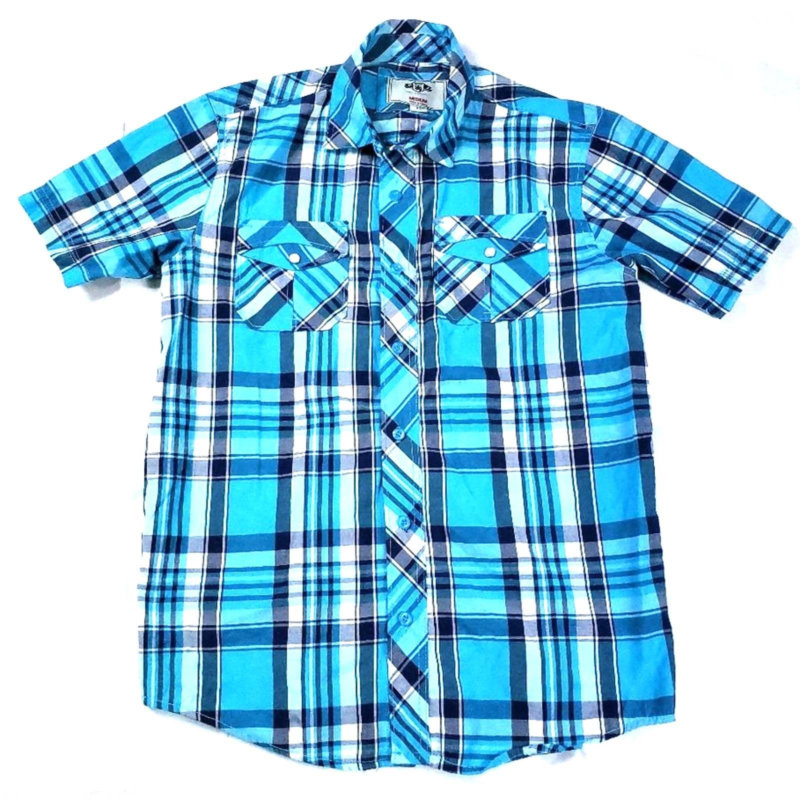 PJ Mark Blue Check Button up Front Shirt