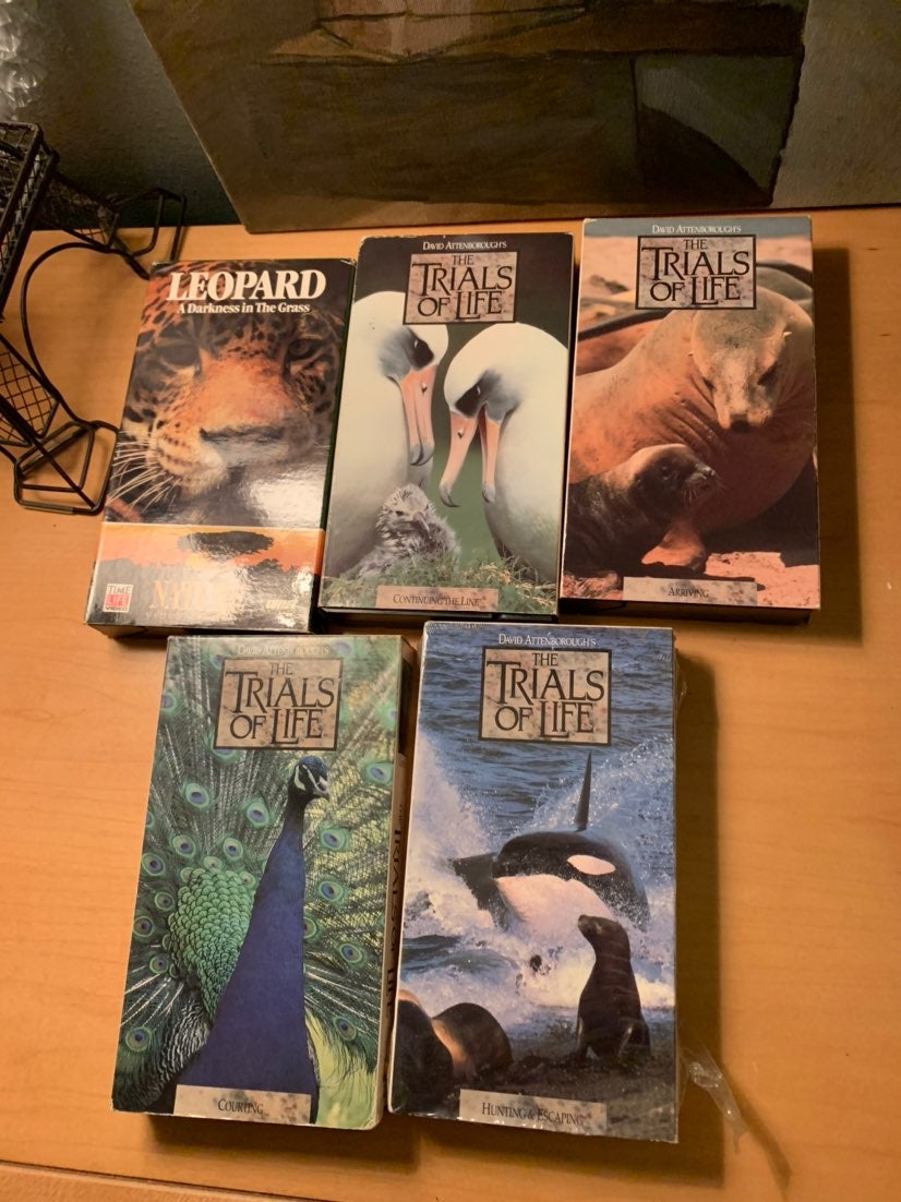 5 animal/nature documentary vhs tapes