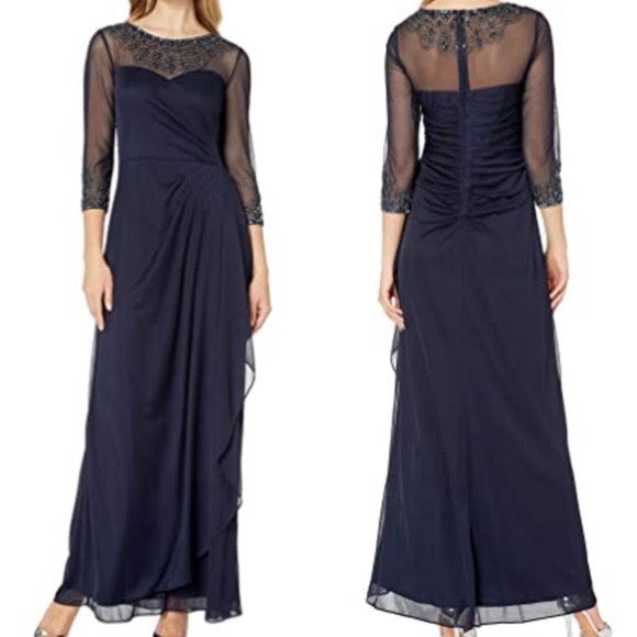 Alex Evenings Ruched Illusion Mesh Gown
