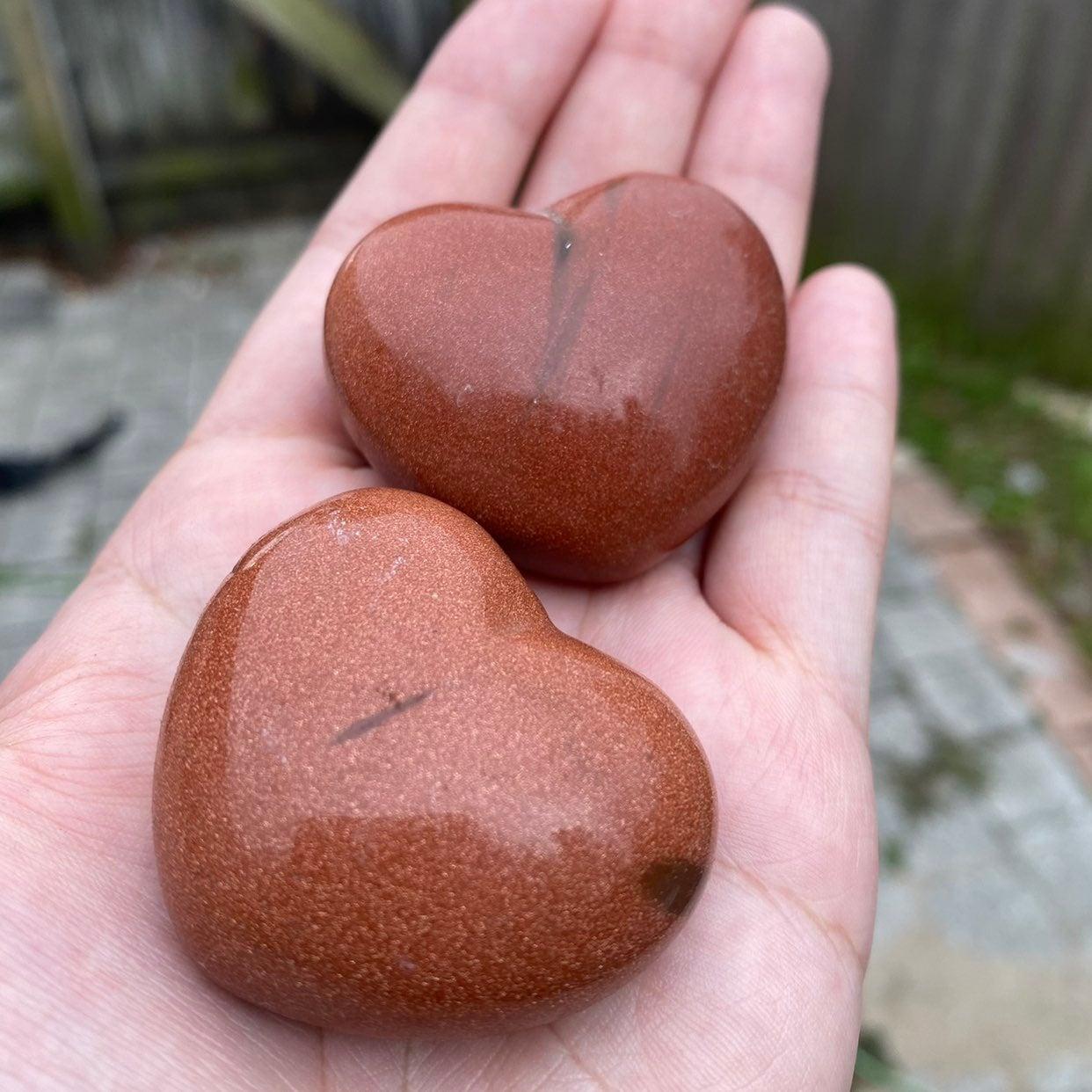 goldstone crystal hearts