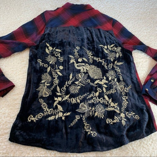 Tolani red blue plaid flannel  xl