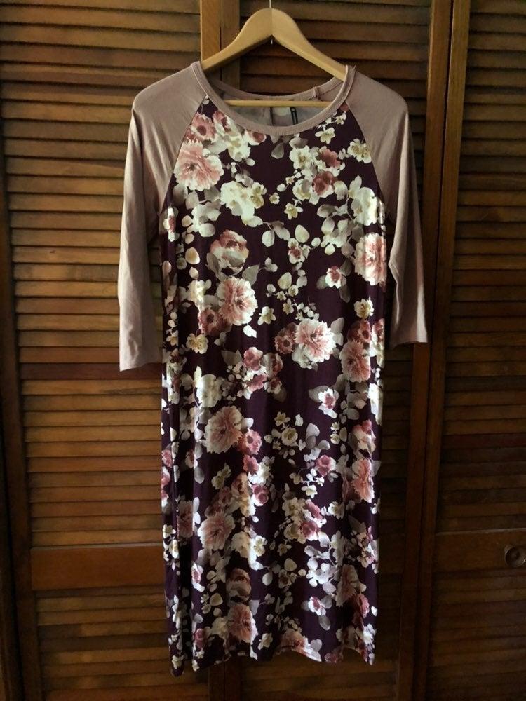 Floral Raglan Midi Dress