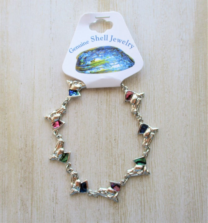 Multi Color Paua Shell Horse Bracelet