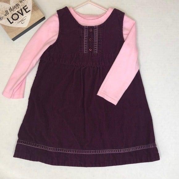 L.L Bean 3T purple corduroy jumper dress