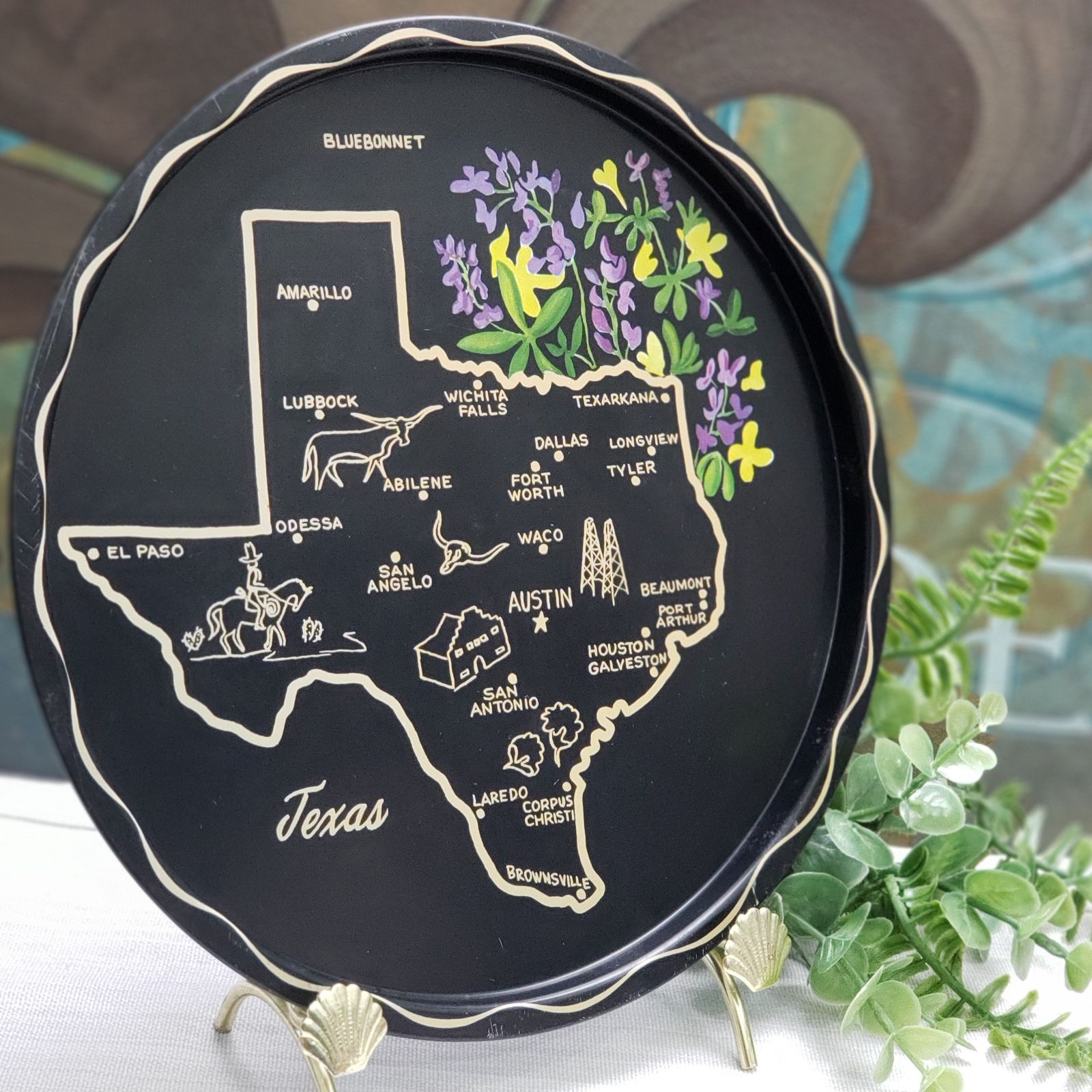 VTG TexasState Black Round Metal Tray