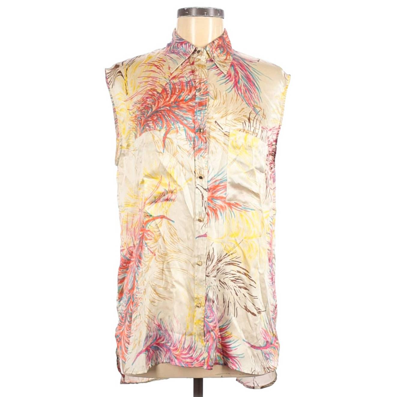 cAbi 100% M silk blouse button floral