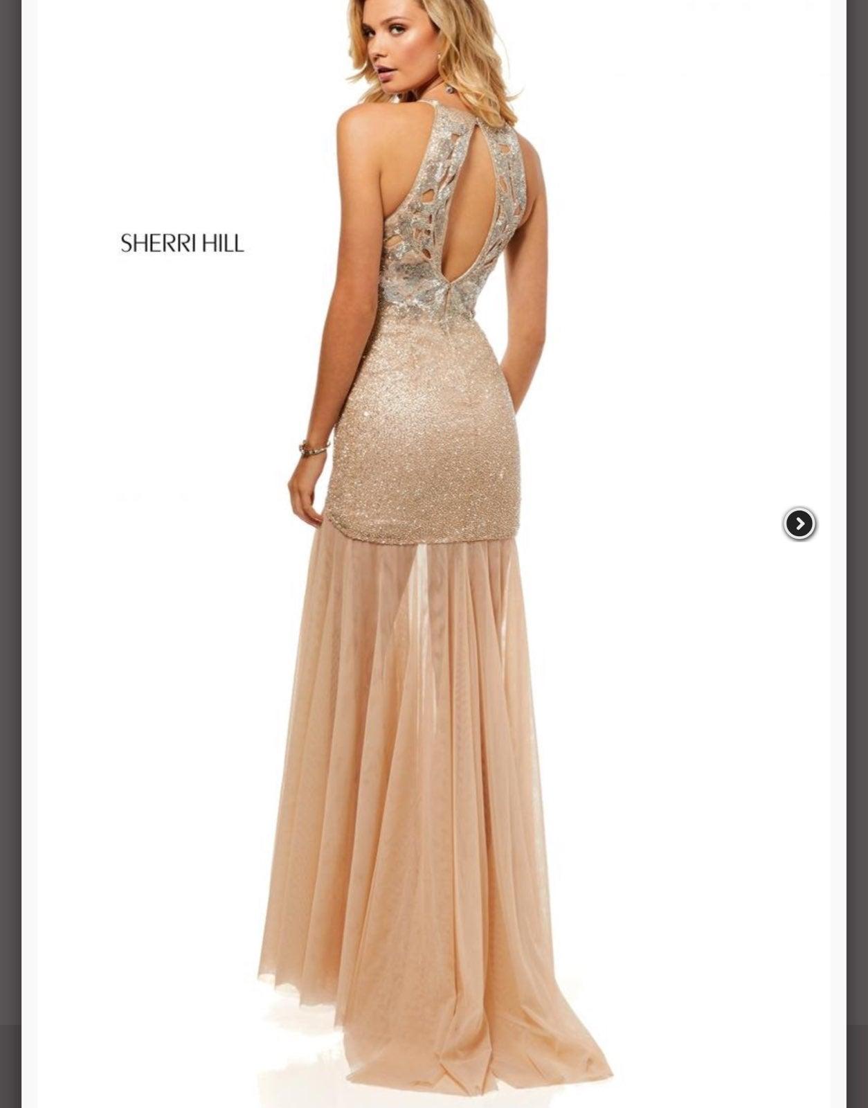 NWT Sherri Hill nude silver prom dress 0