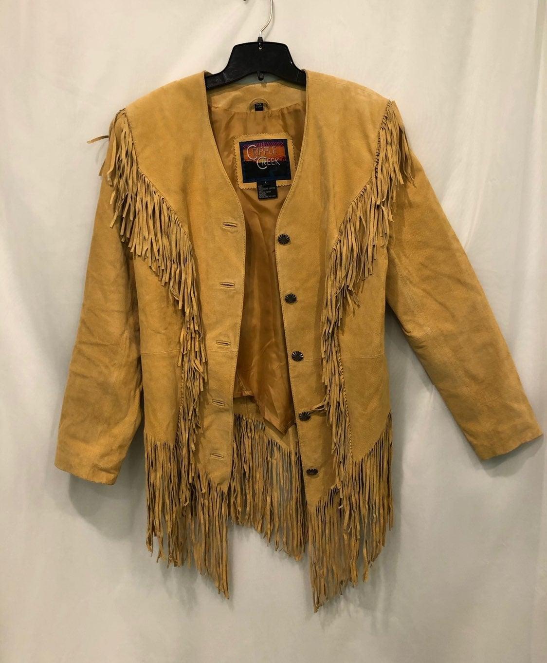 Leather Jacket Womens Yellow Fringe L