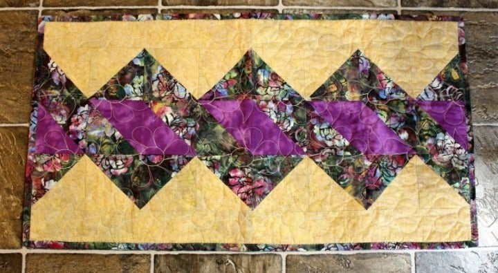 Twisted Pole Batik Quilted Table Runner
