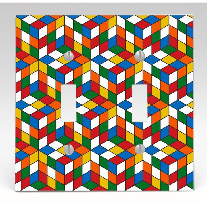 Rubik's Cube Double Light Switch Cover